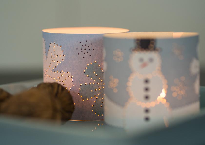 DIY Weihnachtskarten mit Fingerabdruck geprickelte Windlichter