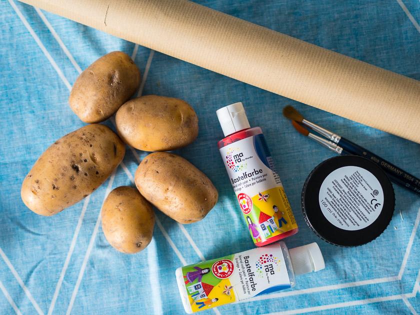 Basteln mit Kindern in der Adventszeit_Kartoffeldruck Utensilien