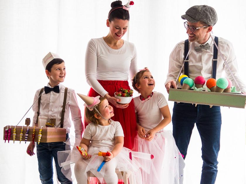 Zuckersüße Familien-Faschings-Verkleidung - Bonbon, Eisstanitzel & Baiser-Sahne-Erdbeertörtchen…hüpf in den Bauchladen!