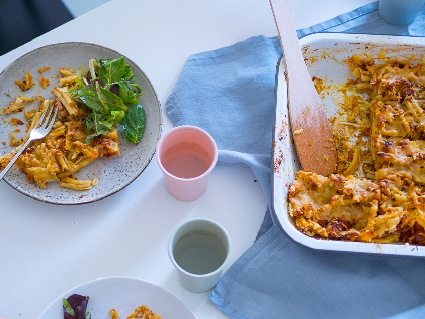 KochEvent Familienküche_Backen mit Kindern_Rezept Gemüse Nudel Auflauf
