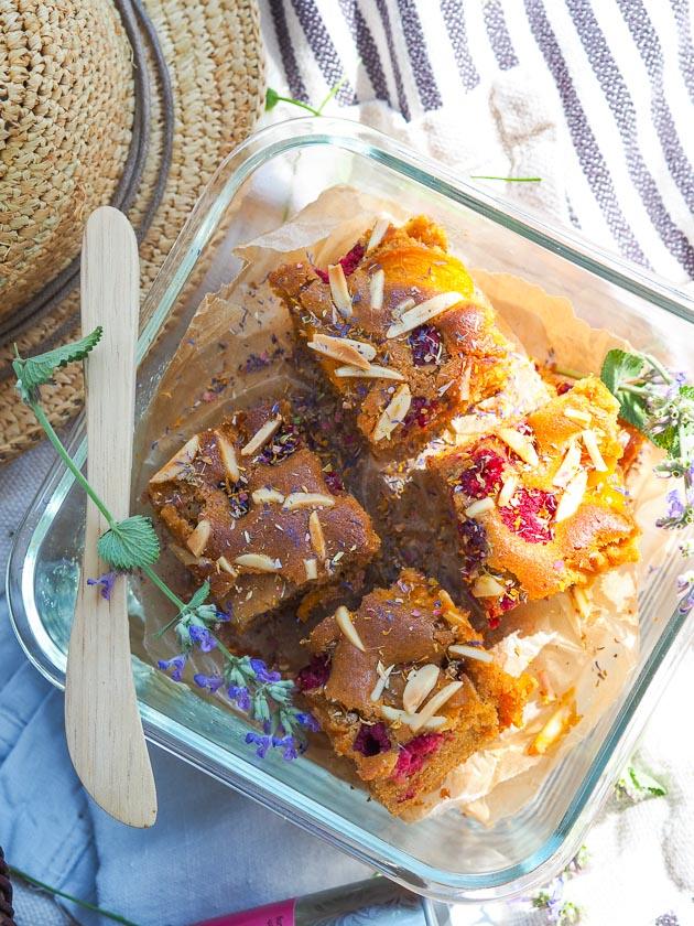 Familien Essen für draußen_Aprikosen Himbeer Kuchen
