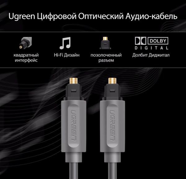 Ugreen цифровой оптический аудио кабель типа toslink  позолоченные коаксиальный кабель SPDIF