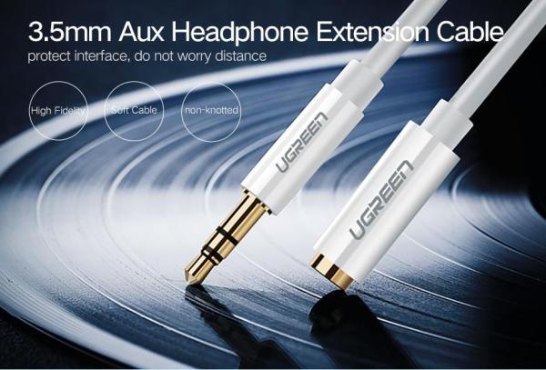 Ugreen удлинитель аудио 2м  мини джек  3.5 мм  Audio Aux Cable позолоченный молочно белый черный
