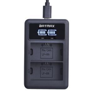 Зарядное устройство для Batmax LP E6  на 2 батареи   + USB ЖК-дисплей