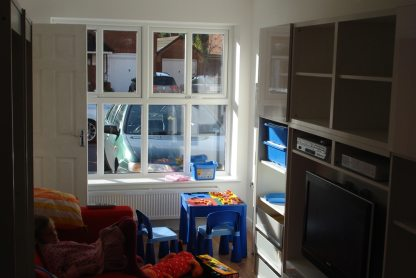 garage conversion used as kids playroom