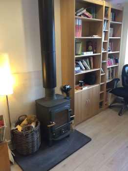 garage conversion to office.  garage log burner conversion to home office on garage