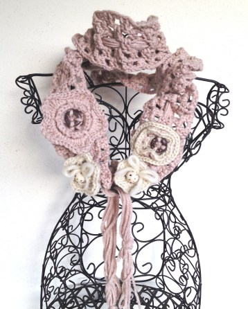 Scalda collo crochet romantico chabby chic rosa antico