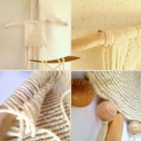 L'alberello tutto di lana intrecciato a macrame su legno levigato dal mare.