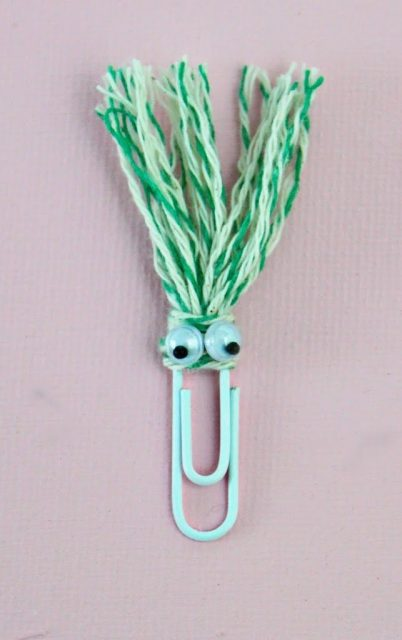 Use a few supplies you probably already have on hand to make funny face bookmarks for back to school. Kids will love to make and to receive these!