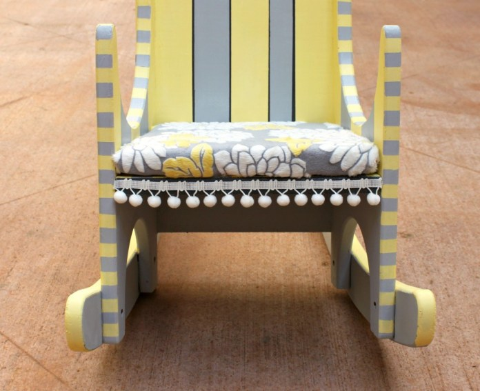 Give a thrifted rocking chair new life when you update it with Chalky Finish Paint and fabric!