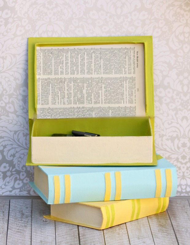 Customize paper mache book boxes to create stylish storage for your home or craft room!