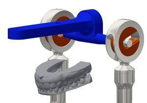 Detalle del Articulador Dental Virtual (ADV) con los modelos dentales situados con capacidad de estudiar la dinámica en odontología