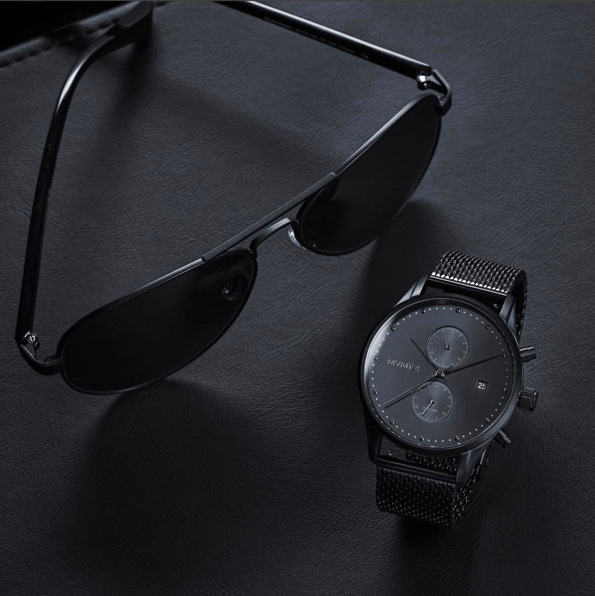 MVMT Runaways Sunglasses In Black And MVMT Slate Watch In Black