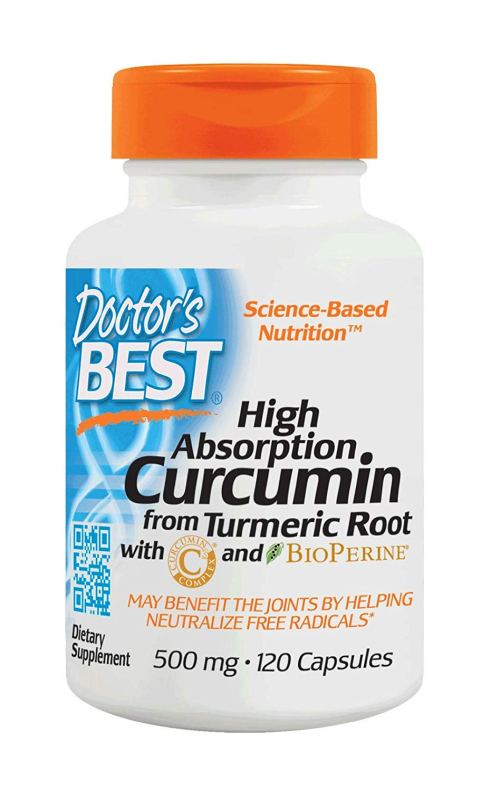 Bottle of Doctor's Best Curcumin from Turmeric Root, Non-GMO, Gluten Free, Soy Free, Joint Support, 500mg Caps with C3 Complex & BioPerine, 120 Capsules