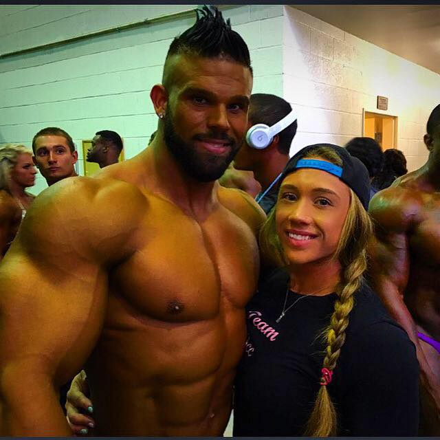 Bostin Loyd and Ariella Palumbo backstage at bodybuilding competition