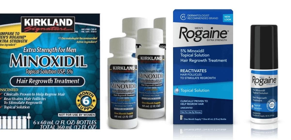 Kirkland Minoxidil bottle and Rogaine bottle