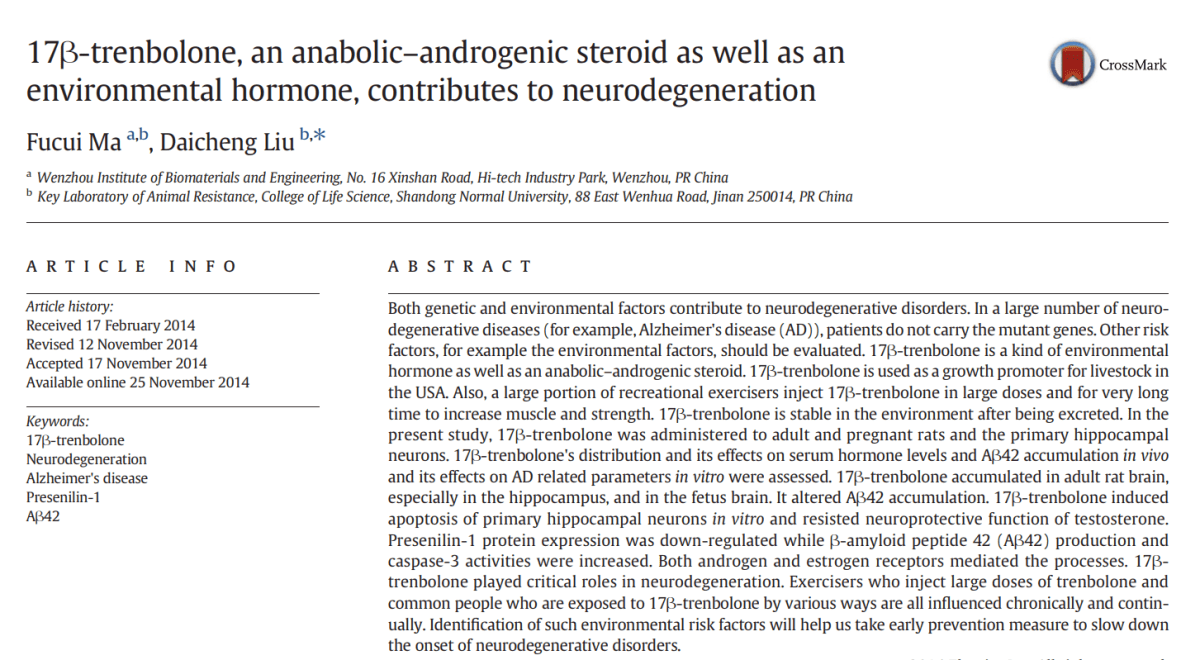 trenbolone, an anabolic-androgenic steroid as well as an environemental hormone, contributes to neurodegeneration