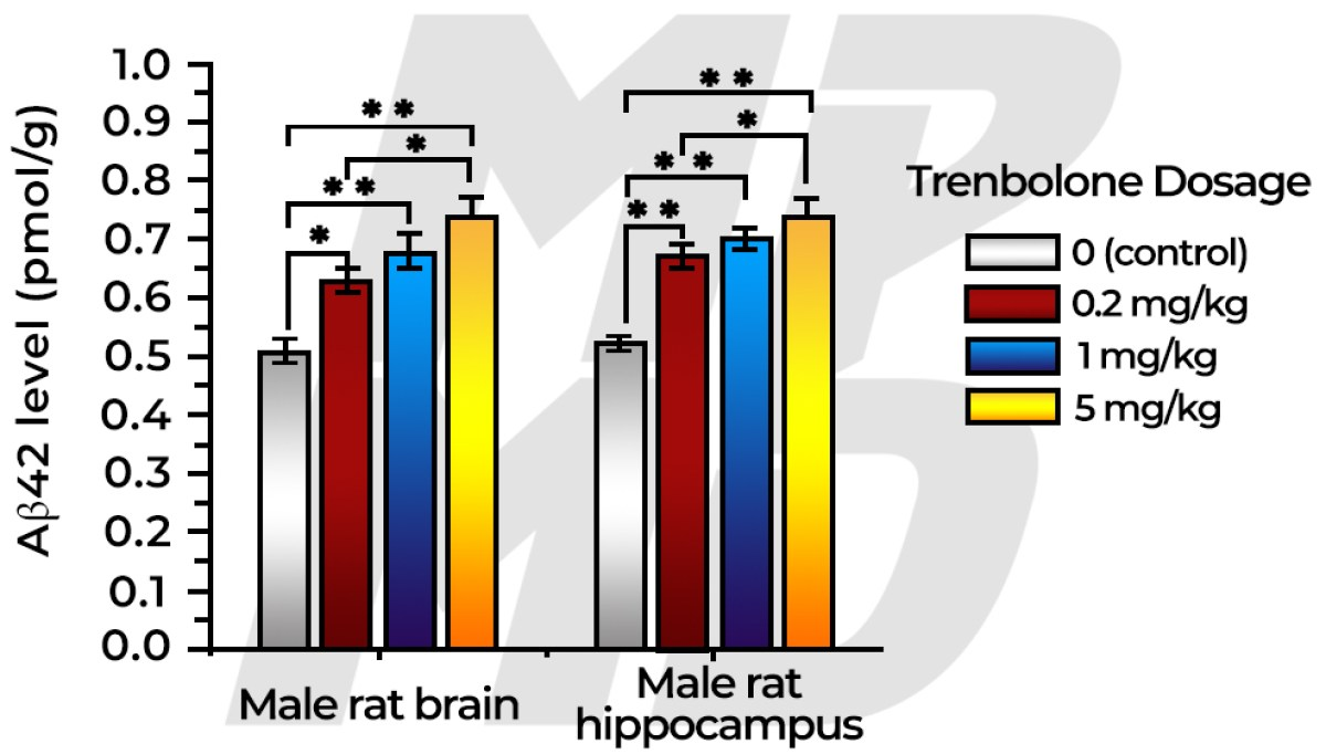 Trenbolone dosage effect on beta amyloid plaque accumulation in rodents