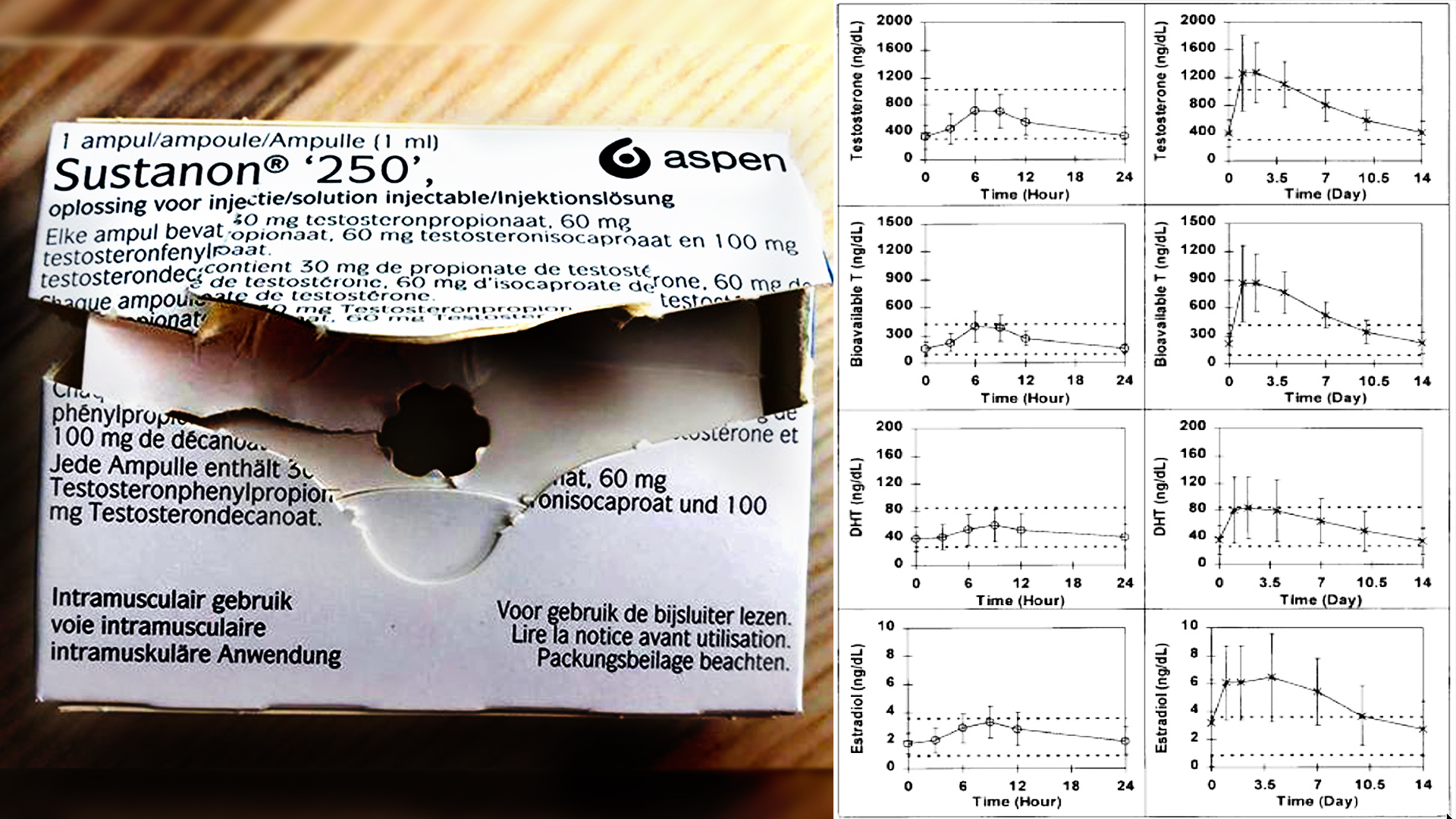 opened box of Aspen Sustanon 250 and graph of different applications