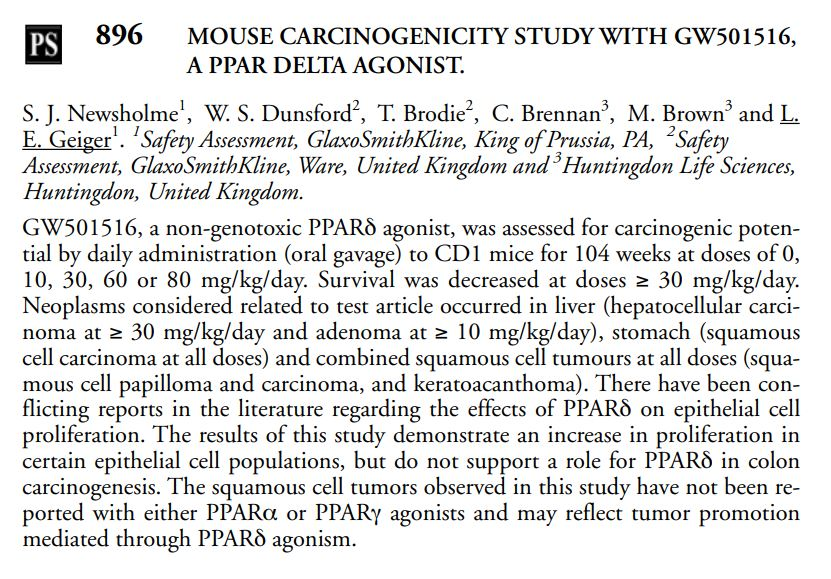 Rat Carcinogenicity study with GW501516 p2