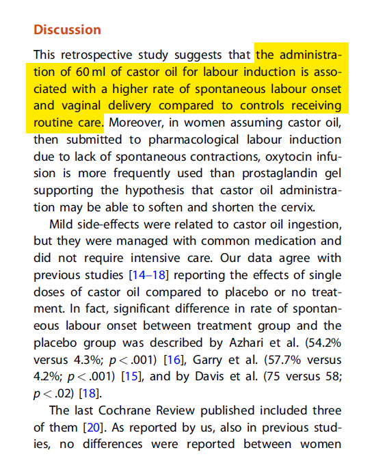 Proof suggesting that consumption of oral castor oil induces labor