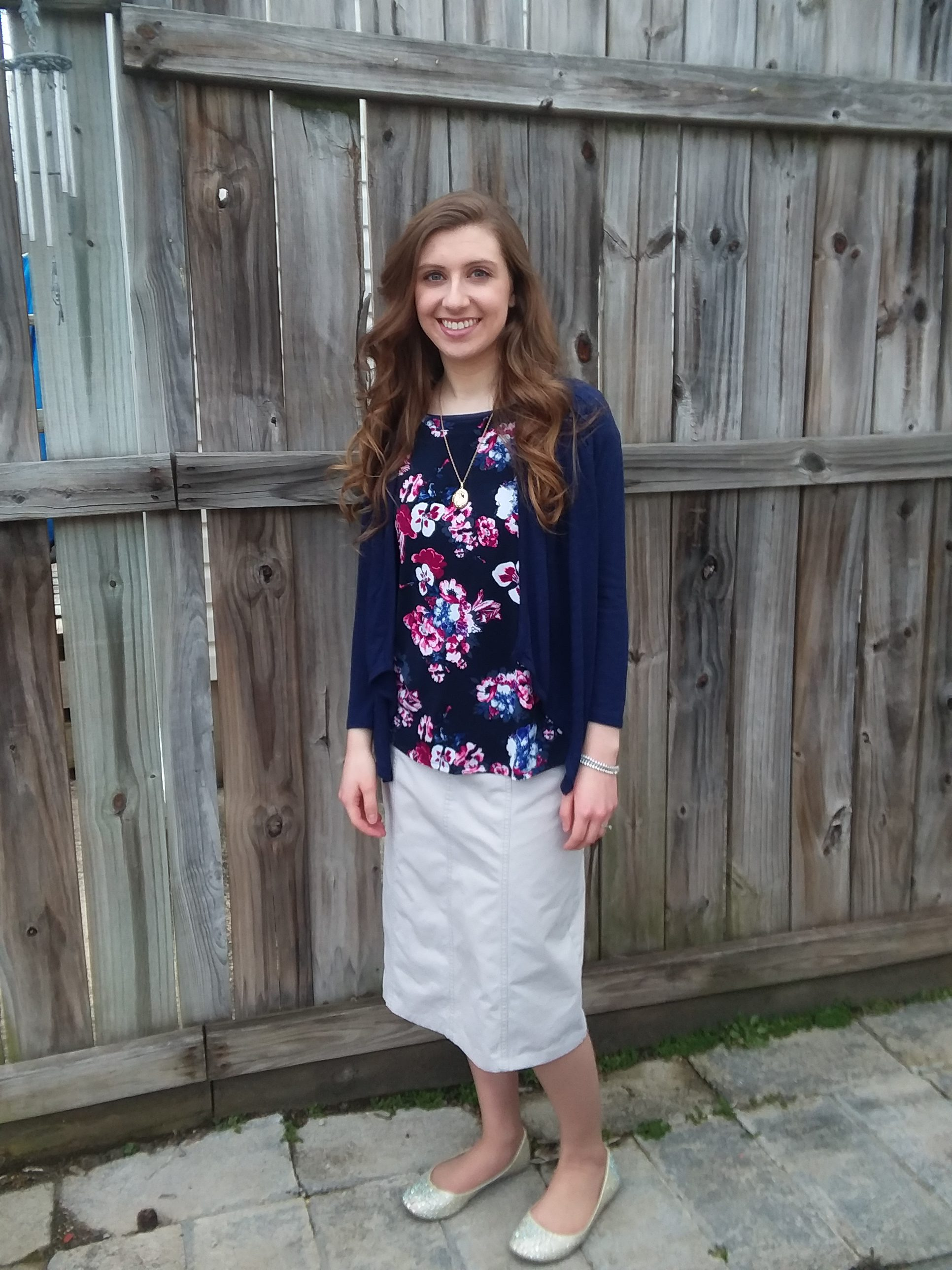 9fdb4e69ec28 4 Modest Outfit Ideas for Spring | Navy Blue Floral + Khaki Skirt | Modest  Fashion