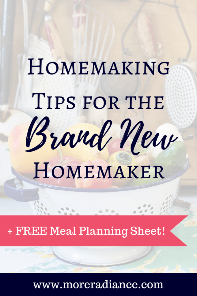 Homemaking Tips for the New Homemaker + FREE Meal Planning Sheet!   Hey Friend, do you need some homemaking help? Are you struggling with managing the home? Here's is a list of excellent home making tips for the new wife, weary mom, or busy house wife. These tips will help you become an efficient homemaker with meal planning tips, grocery tips, cleaning tips, and so much more!