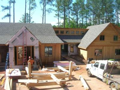 Timber Frame Porch Raising at Lake House in Georgia