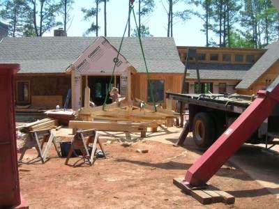 Timber Frame Porch Raising at Lake House in Georgia