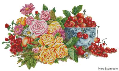 Натюрморт с розами и ягодами