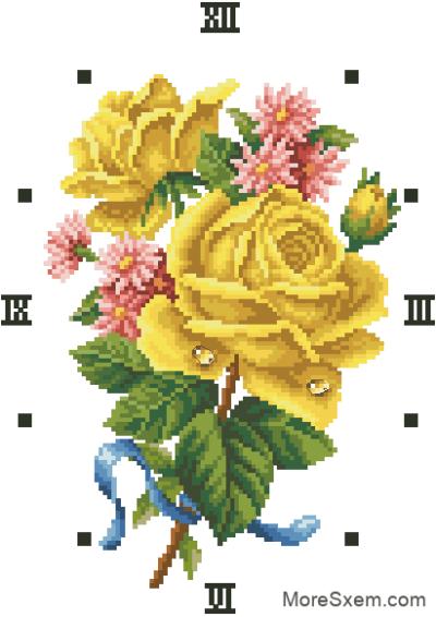Часы желтые розы
