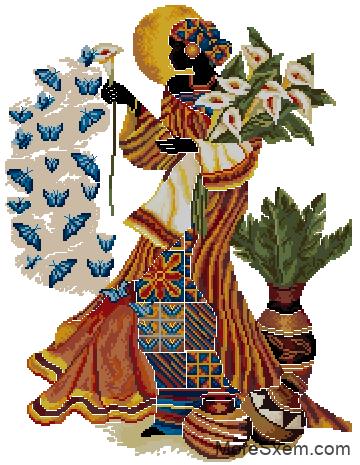 Африканская женщина и бабочки