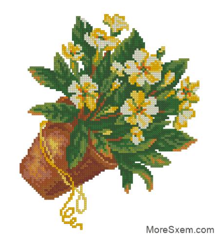 Горшочек с желтыми цветами