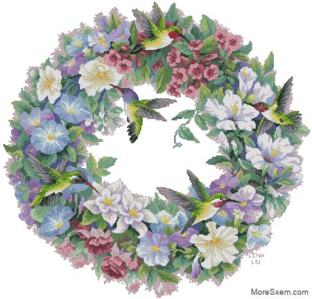 Цветочный венок с вьюнками и колибри