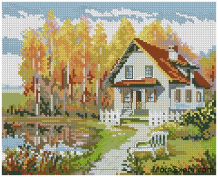 Осень. Домик у пруда