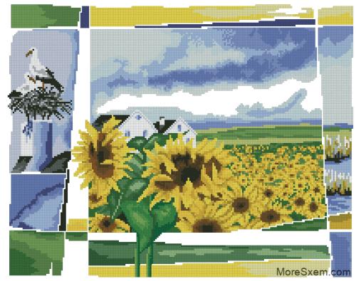 Пейзаж с подсолнухами