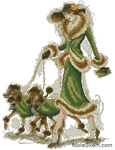 Дама с собачками (пудель)