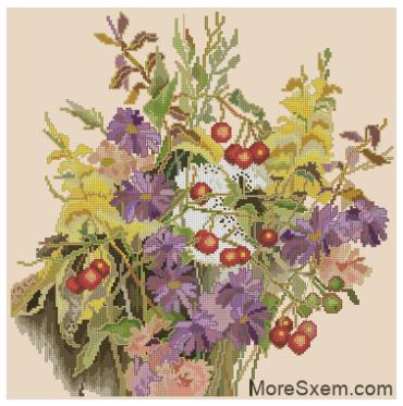 Осенний букет с ягодами