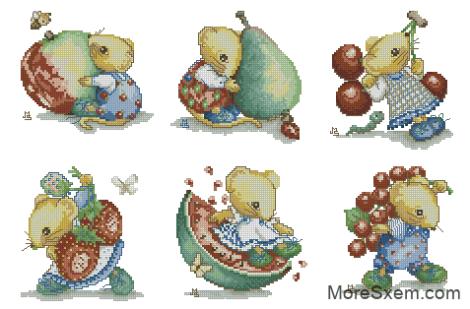 Мышенята с фруктами