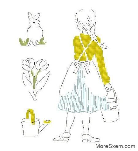 Девушка и кролик. Весенний сад