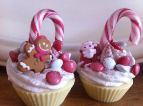 Candy cane topped fairy cakes
