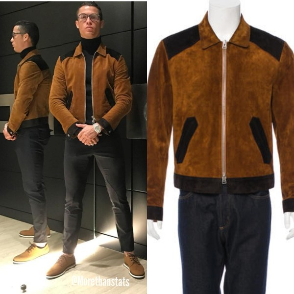STYLE: Cristiano Ronaldo's Instagram Tom Ford Two-Toned Brown Suede Bomber Jacket