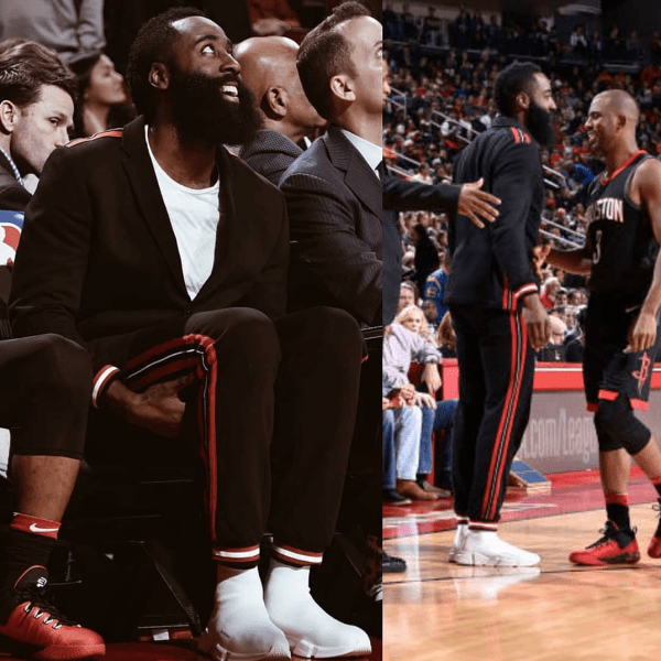James Harden's Givenchy Relaxed Suit & Balenciaga Speed Trainers