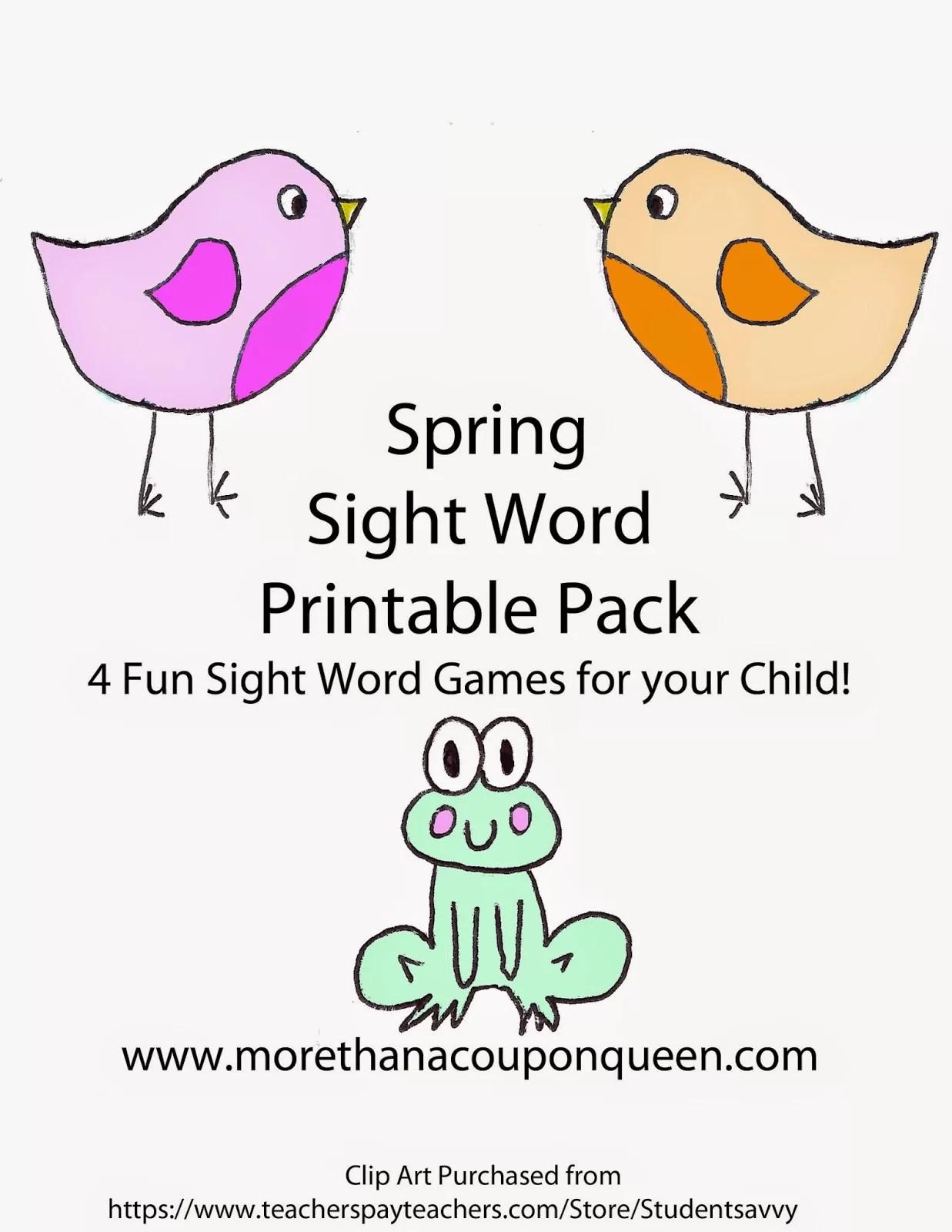 Spring Sight Word Printable Pack