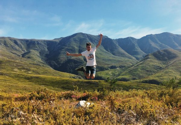 Jared jumping in Grootvadersbosch Nature Reserve