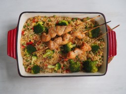 Fried Rice with chicken kebab