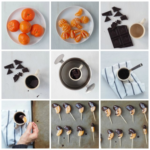 Tangerines dipped in Chocolate healthy party idea from More Than Just Carrots