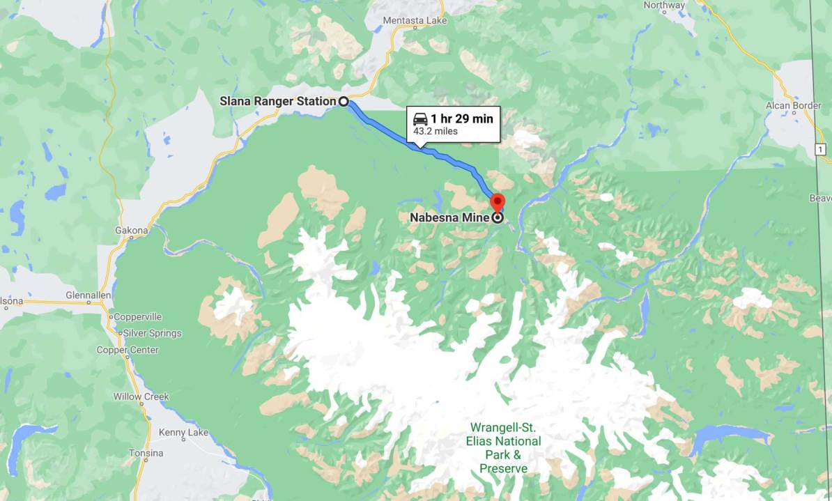 nabesna road map wrangell st elias national park alaska