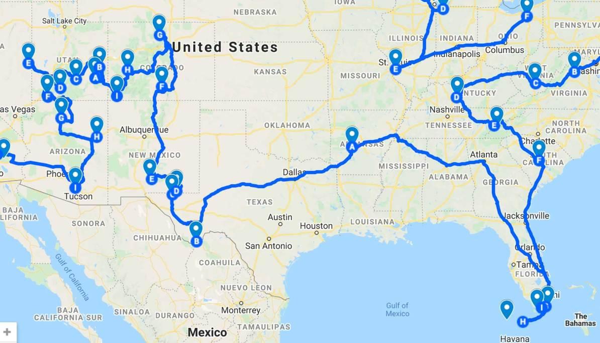 southwest national parks road trip map