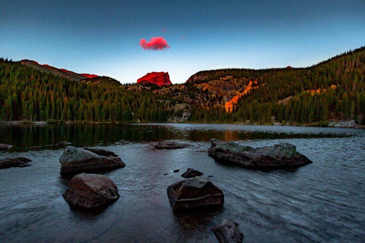 bear lake sunrise rocky mountain national park colorado